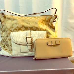 Gold and Cream Coach Purse and tan wallet